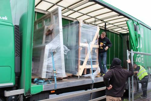 The windows arriving all packaged up on the lorry