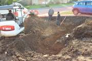 Excavating the trenches for the driveway wall footings