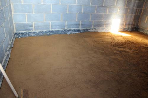 Base layer of sand across the whole floor