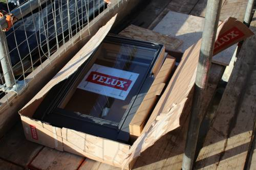 Velux windows ready to be installed.