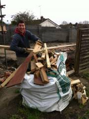 Collecting timber offcuts