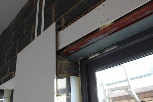 Complex junction around the french doors and steel structure