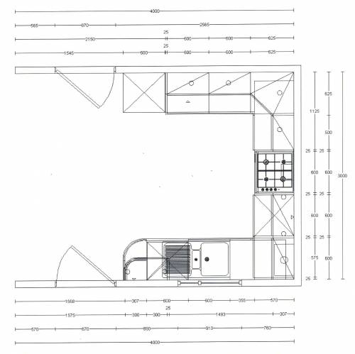 Kitchen unit layout block dimensions