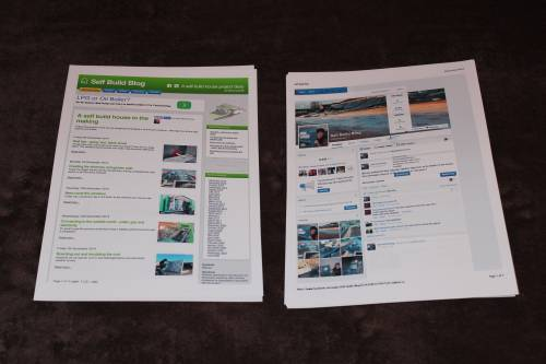 Self Build Blog website printouts