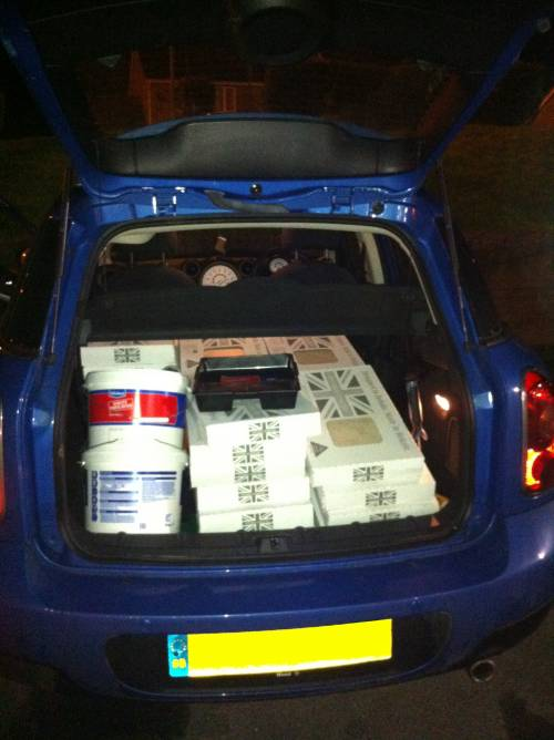 Tiles bought - car loaded up!