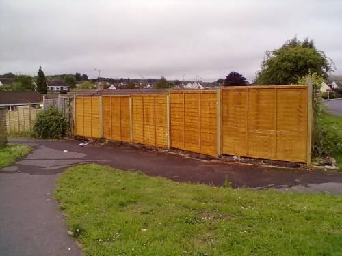 More fence panels erected