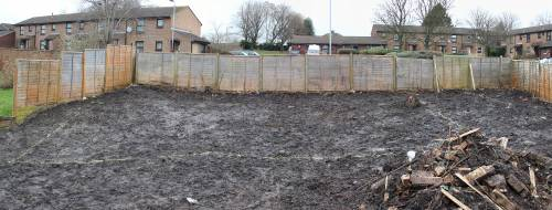 Panorama of the house outline at the top of the site
