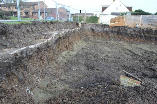 Site excavated reading for building the retaining wall