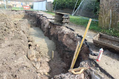The trench to be filled