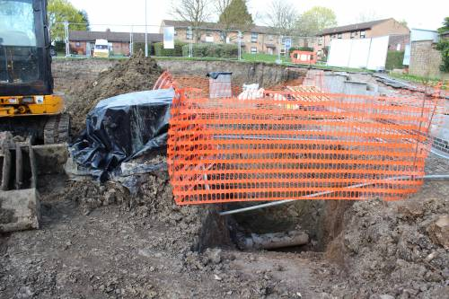 Safety netting around the large hole
