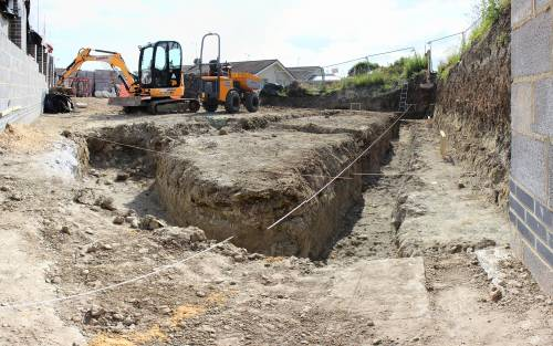 View of trench from current retaining wall corner