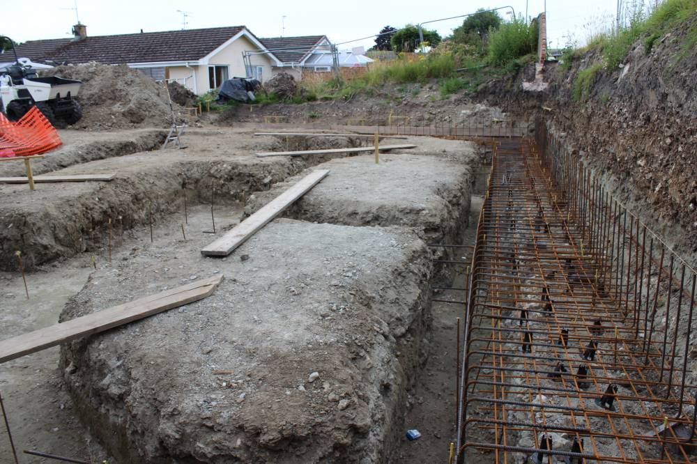 foundation reinforcing steel cage ready for pouring concrete self
