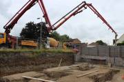 Pouring the concrete for the foundations