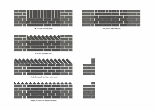 Scale drawings of the brick arrangements