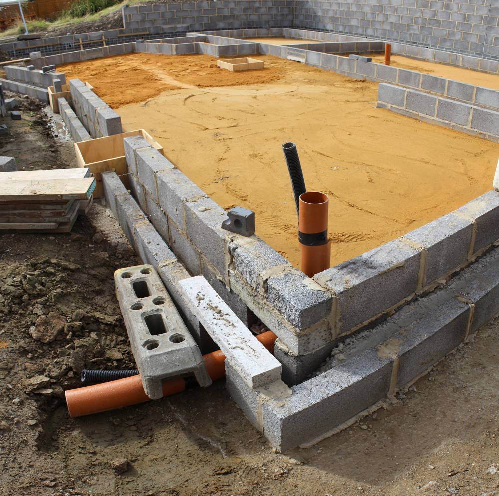 Progress with building the house footprint and slab self for Slab built homes