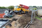 The pump lorry right up on-site