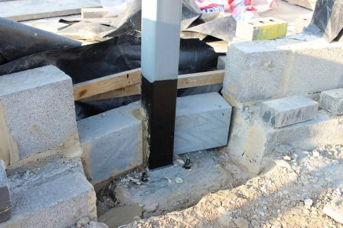Blocks built around the base of the steels