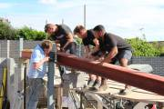 All hands on deck to construct the steel frame
