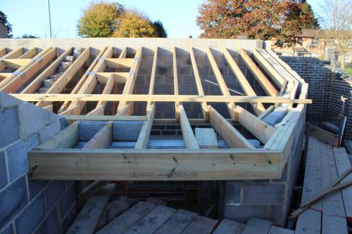 The porch detail and roof window for the spare bedroom