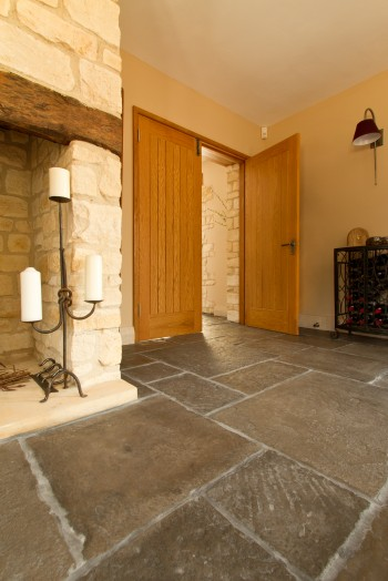 Classic flag stone flooring in a new build living room