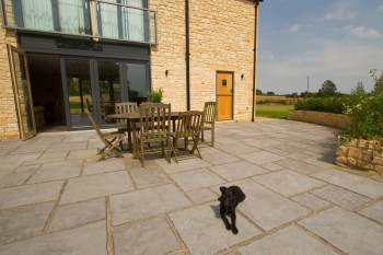 Outdoor flagstones make a great classic style patio