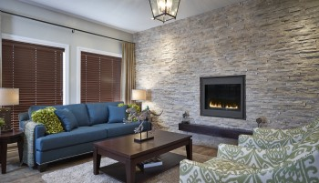 Living room feature wall stone cladding