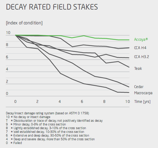 Different decay rates for types of wood