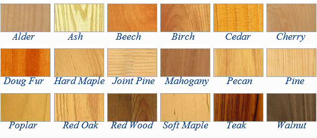 Selection of hard and soft woods